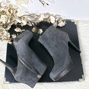 NINE WEST Esmiraldar grey suede snakeprint boots